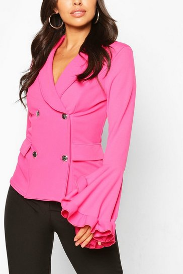Hot pink Frill Sleeve Double Breasted Blazer
