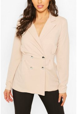 Stone Double Breasted Cinched In Waist Blazer