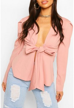 Blush Bow Front Blazer
