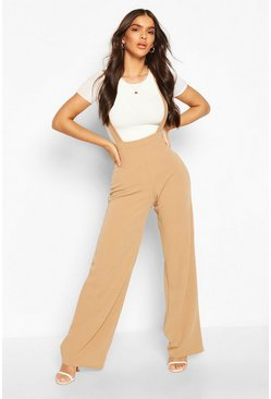 Camel Pinafore Stretch Crepe Wide Leg Trousers