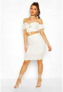 Cream Broderie Anglaise Bardot Crop Top&Midi Skirt Co-ord