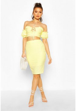 Lemon Broderie Anglaise Bardot Crop Top&Midi Skirt Co-ord