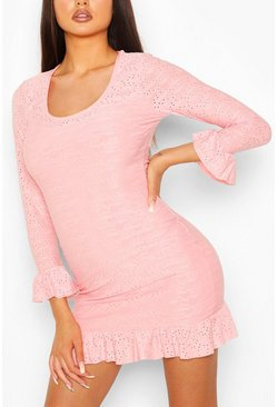 Coral Broderie Anglaise Scoop Neck Bodycon Dress