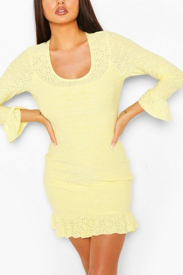 Lemon Broderie Anglaise Scoop Neck Bodycon Dress