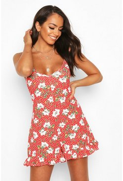 Red Floral Print Strappy Playsuit