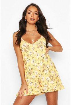 Yellow Floral Print Strappy Playsuit