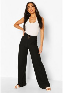 Black Rib Wide Leg Trouser With Buckle Front