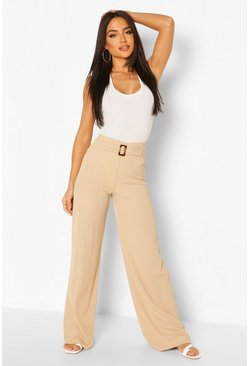 Camel Rib Wide Leg Trouser With Buckle Front