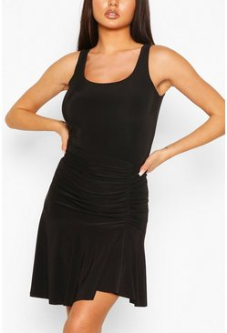 Black Ruched Side Skirt With Asymmetric Hem