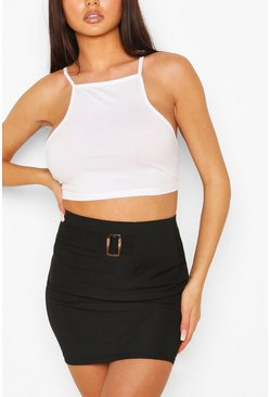 Black Rib Mini Skirt With Buckle Front