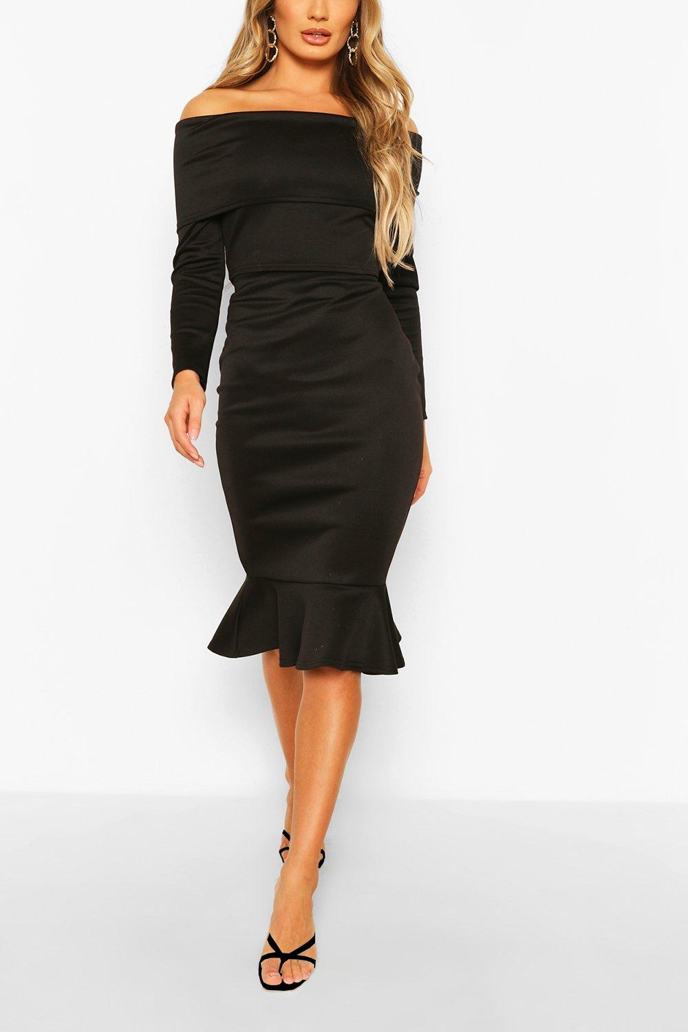 womens overleaf off the shoulder top & fishtail midi skirt - black - 2