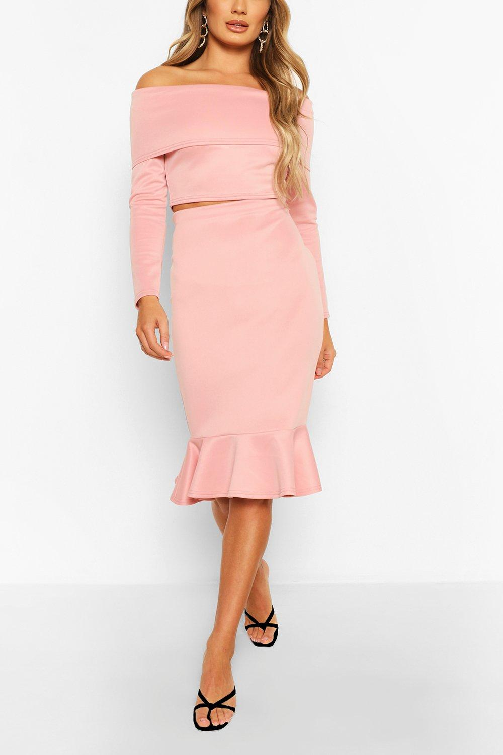 womens overleaf off the shoulder top & fishtail midi skirt - pink - 2