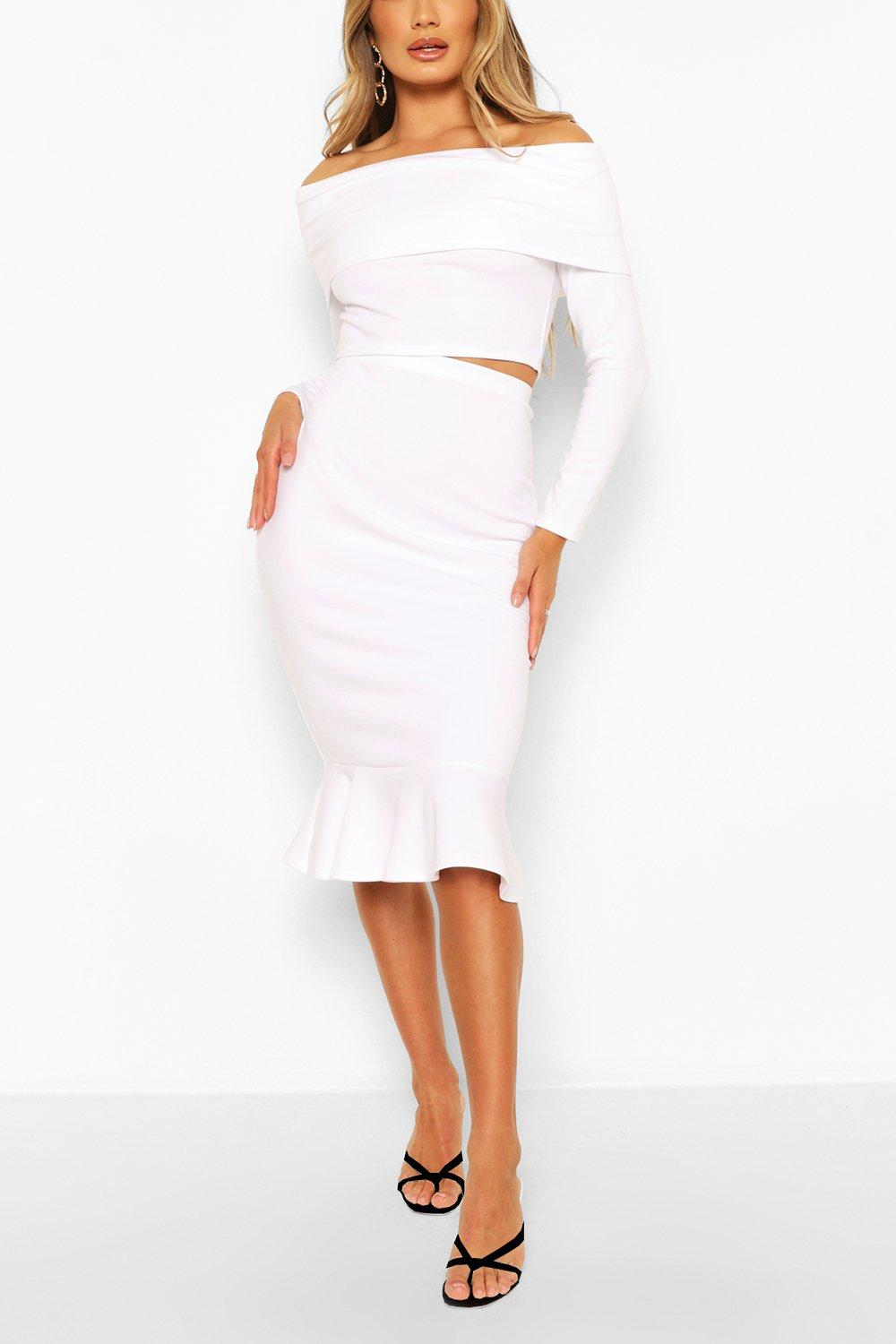 womens overleaf off the shoulder top & fishtail midi skirt - white - 2