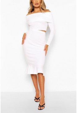 White Overleaf Bardot Top & Fishtail Midi Skirt