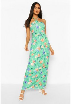 Green Tropical Print Strappy Maxi Dress