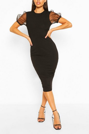 Black Rib Dobby Sleeve Midi Dress