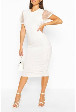 Rib Dobby Sleeve Midi Dress, White