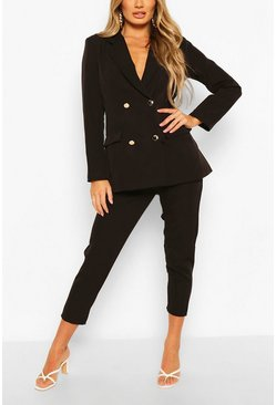 Black Double Breasted Blazer & Trouser Suit Set
