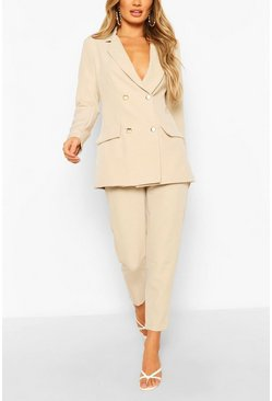 Mushroom Double Breasted Blazer & Trouser Suit Set