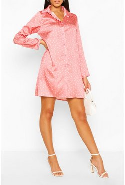 Salmon Satin Polka Dot Shirt Dress