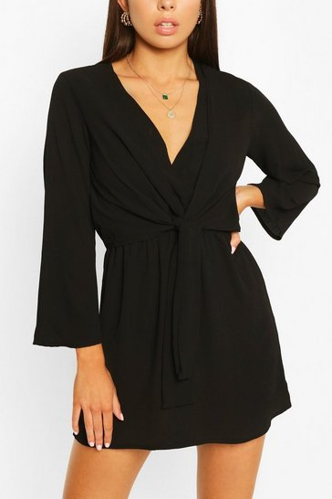 Black Woven Knot Front Wrap Dress