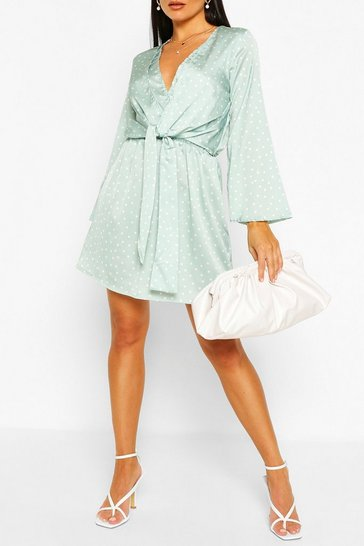 Sage Polka Dot Knot Front Wrap Dress