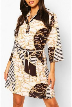 Black Chain Print Collarless Belted Shirt Dress