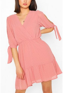 Rose Dobby Tie Sleeve Skater Dress