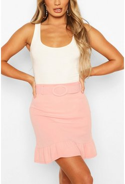 Rose Self Belt Ruffle Hem Mini Skirt