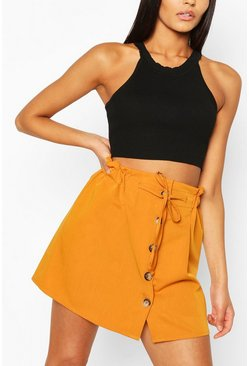 Camel Woven Paperbag Mock Horn Button Skirt
