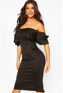 Black Ruffle Sleeve Off The Shoulder Scuba Midi Dress