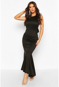 Black Ruffle Back High Neck Maxi Dress