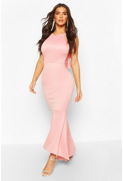 Dusky pink Ruffle Back High Neck Maxi Dress