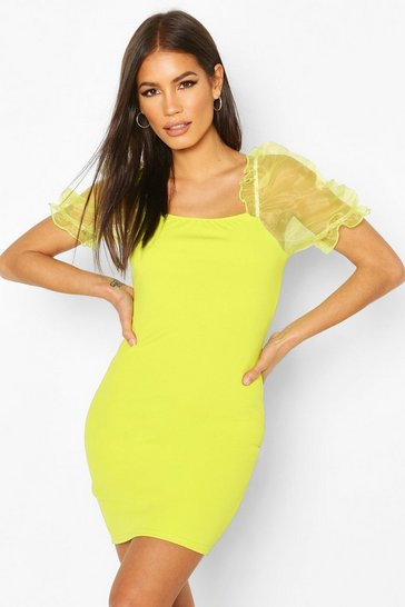 Lime Organza Puff Sleeve Bodycon Mini Dress