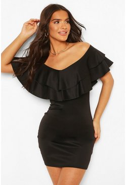 Black Off The Shoulder Frill Hem Mini Dress