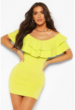 Lime Off The Shoulder Frill Hem Mini Dress