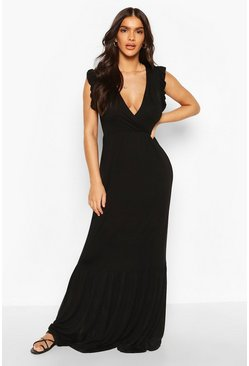 Black Ruffle Hem Frill Sleeve Maxi Dress