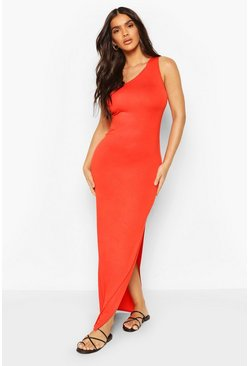 Orange One Shoulder Split Hem Maxi Dress