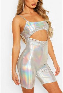 Silver Metallic Unitard