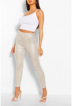 Pastellfarbene Stretch-Leggings in matter Lederoptik, Grau