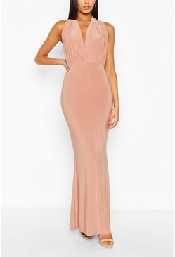 Blush Bridesmaid Multiway Fishtail Maxi Dress
