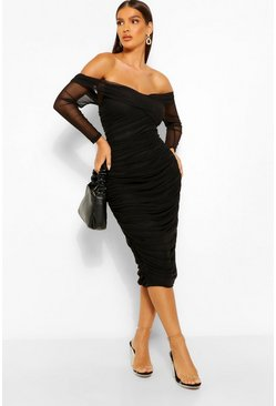 Black Off Shoulder Ruched Mesh Bodycon Midaxi Dress