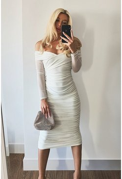 White Off Shoulder Ruched Mesh Bodycon Midaxi Dress