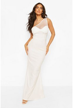 White One Shoulder Dobby Mesh Maxi Dress