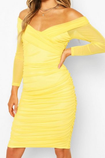 Lemon Off The Shoulder Ruched Mesh Bodycon Midi Dress
