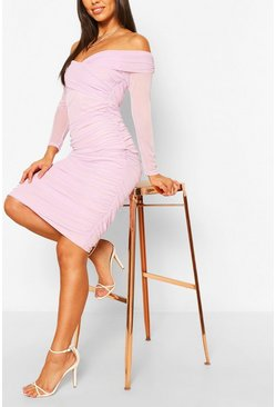 Lilac Off The Shoulder Ruched Mesh Bodycon Midi Dress