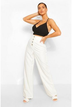 Ivory Button Front Pocket Side Longline Culottes