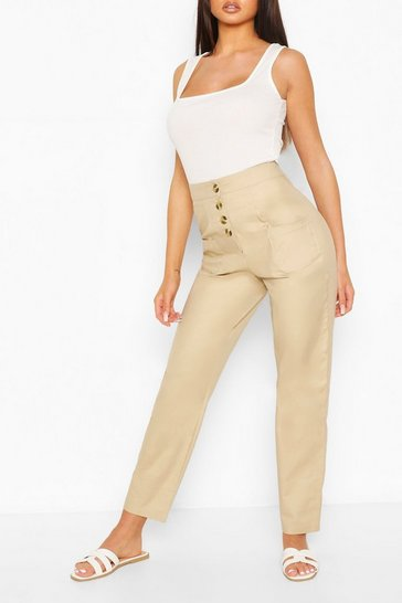 Sand Stretch Cotton Button Front Skinny Trousers