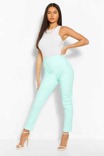 Mint Pastel Leather Look Seamed Trouser
