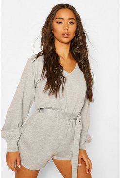 Grey marl Soft Tie Waist Oversized Lounge Romper